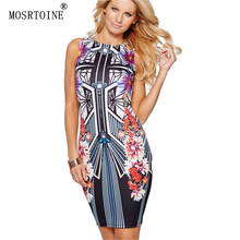 MOSRTOINE Women Print Dresses Novelty 2017 Spring Summer Clothing Flower Print Plus Sizes XXL Sleeveless Women Pencil Dresses(China (Mainland))