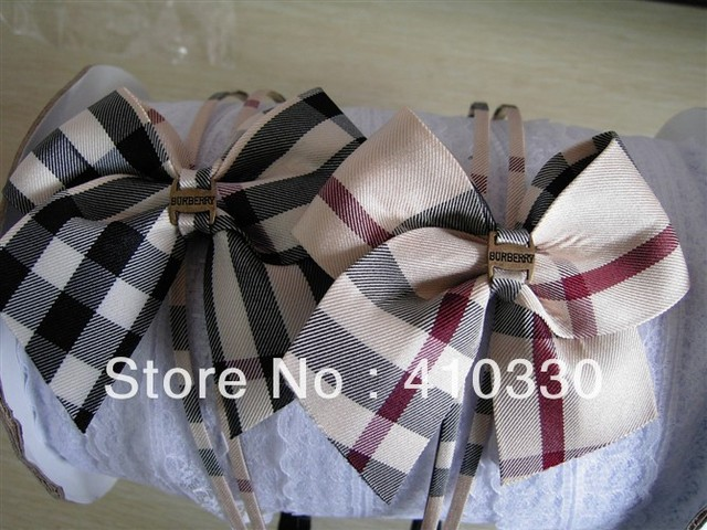 Fashion Plaid Pattern Fabric Cover Plastic Headbands/Ladies headbands/Baby Girl's Brand Bow Hairwear/Children's Hair Sticks