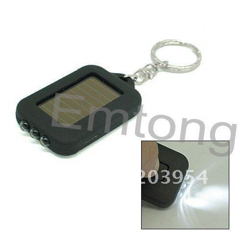 Free shipping on sale hot 2016 New Mini Solar Power led Flashlight 3 LED Torch keychain ring Cute 50pcs/lot sports black E072