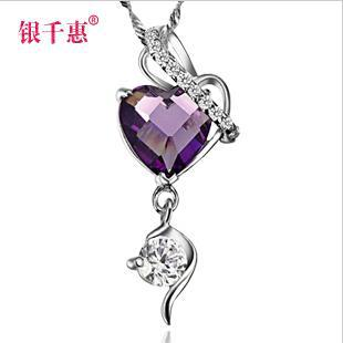Здесь можно купить  Silver amethyst necklace birthday gift female lettering Silver amethyst necklace birthday gift female lettering Ювелирные изделия и часы