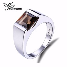 Promotion 2.3CT Smoky Quartz Wedding Pure Solid 925 Sterling Sliver Ring For Men Gift Vintage Jewelry 2015 Brand New Wholesale(China (Mainland))