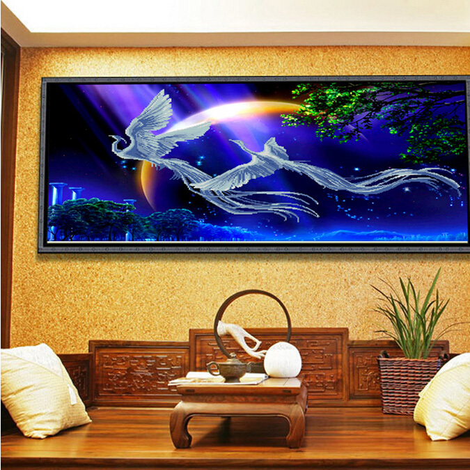 chinese painting phoenix dreaming large wall decoration pictures for diy coloring by numbers(China (Mainland))