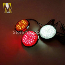 Red Lens Round Red LED Reflectors Brake Light for Universal Motorcycle car truck high performance turn signal light tail light(China (Mainland))