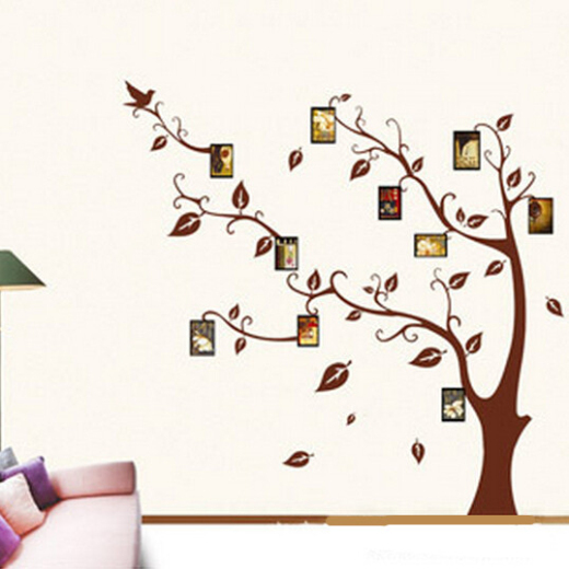 Free shipping large black diy photo tree pvc wall decals for Diy tree wall mural