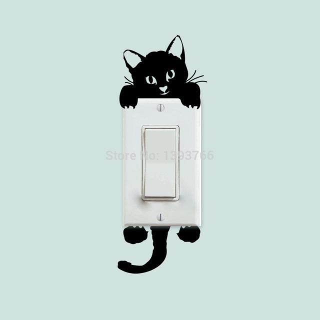 Diy забавные милые кошки переключатель стены наклейки надписи предметы интерьера спальня красоты украшения 327