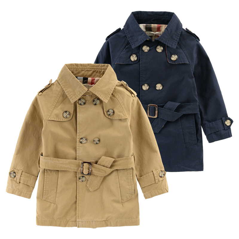 Boys Double-Breasted Trench Coat England Style Spring Autumn New Children's Clothing Cotton Kids Fashion Jacket Good Quality!(China (Mainland))
