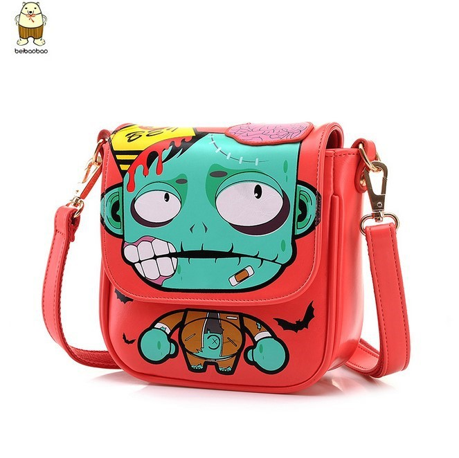 2015 original brand woman's crossbags cartoon zombie printed fashion women message bag leather crossbody/shoulder bags(China (Mainland))