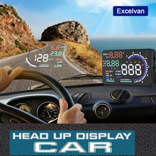 "Excelvan 5.5"" Large Screen Auto Car HUD Head Up Display KM/h & MPH Overspeed Warning Windshield Projector Alarm System OBD2 Port(China (Mainland))"