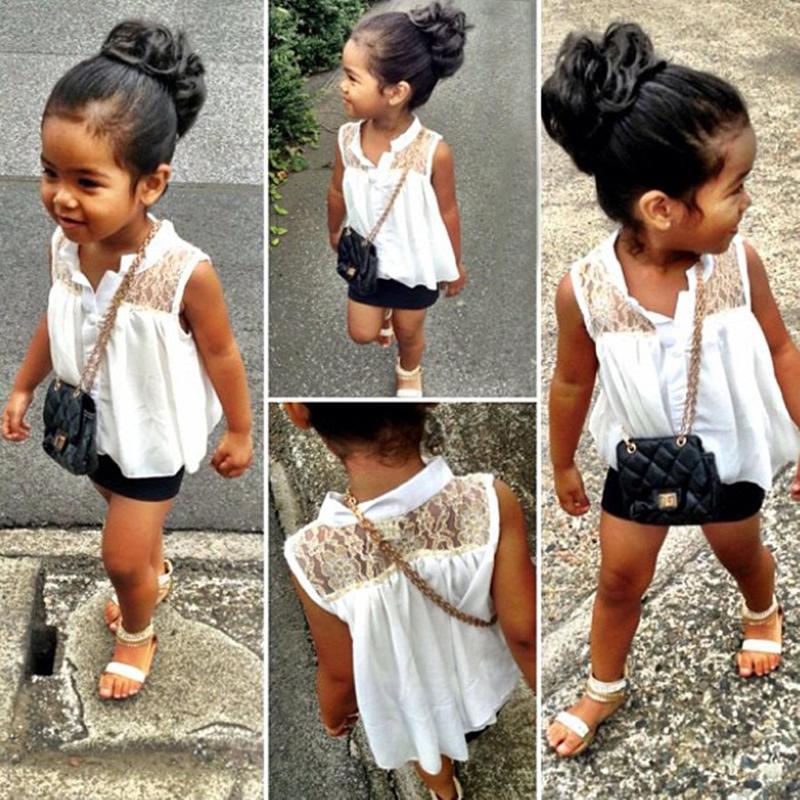 2015 Hot Baby Girls Kids White Summer Lace Chiffon Tops Shirt Blouse 2-7Y UK