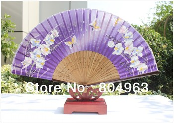 [China Confucian Arts]5pcs/lot free shipping of folding hand fan/100% pure silk+spray bamboo frame/L21cm*30ribs /top quality