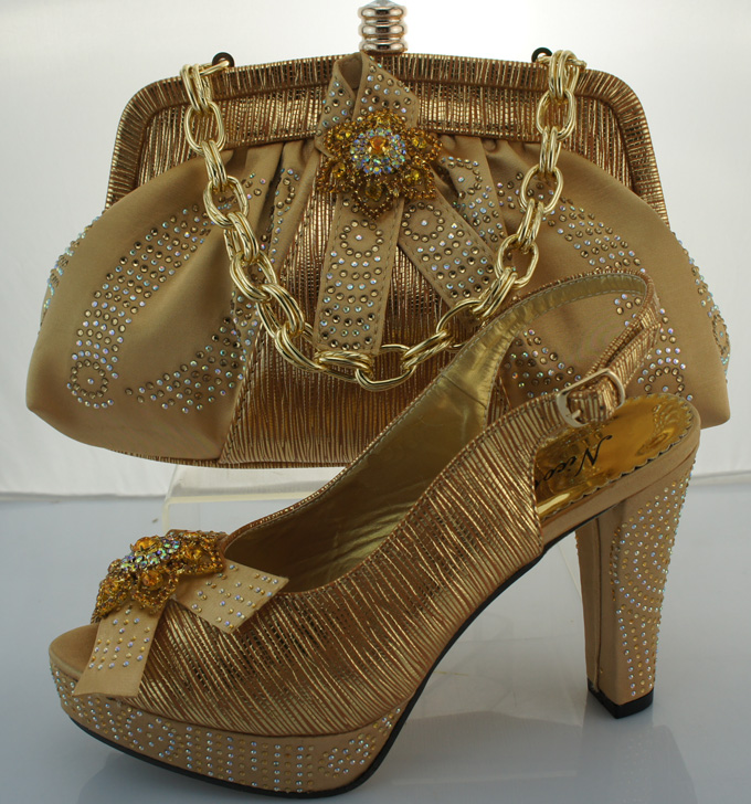 African lady Wedding Italian bags and shoes set to match woman,ME2219-B Gold color in stock for free shipping<br><br>Aliexpress