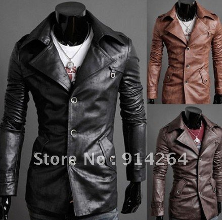 Premium Men's Slim Top Designed Sexy PU Leather Coats Jackets S1050 3color 4size