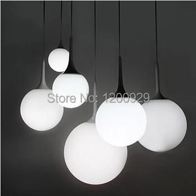 Free Shipping 1Piece Modern White Milk Glass Globe Lamp Pendant Light Living Room Home Decoration PLL-253(China (Mainland))