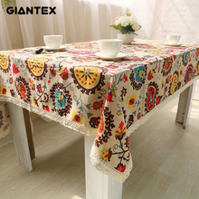 GIANTEX Bohemian National Wind Decorative Table Cloth Cotton Linen Lace Tablecloth Dining Table Cover Kitchen Home Decor U0997(China (Mainland))