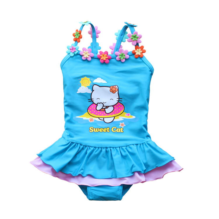 Buy send swimming cap 2014 Direct Selling Character The New 201 for Cat Pattern One-piece Bathing Suit Children of Girls(China (Mainland))