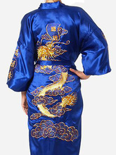 Free Shipping!Chinese Women's Silk Satin Robe Embroidery Dragon Kimono Bath Gown Dragon S M L XL XXL XXXL  WR004(China (Mainland))