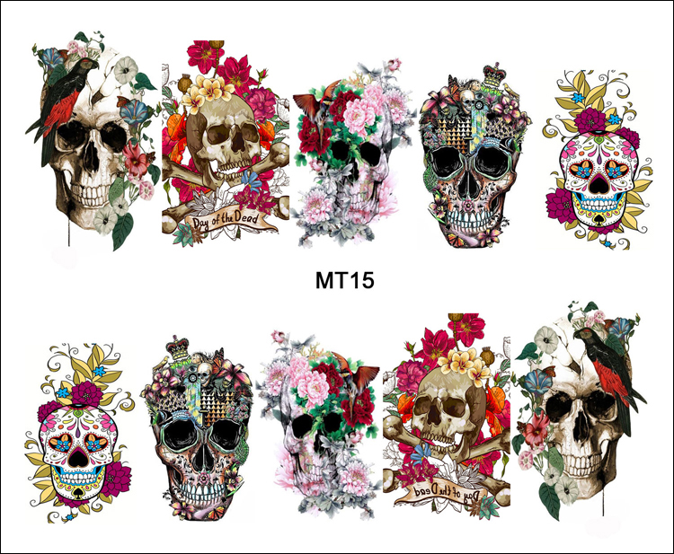 1 Sheet Nail MT15 Full Cover Flower Crown Skull Fashion Nail Art Water Transfer Sticker Decal For Nail Tattoo Tips Nail Tools(China (Mainland))