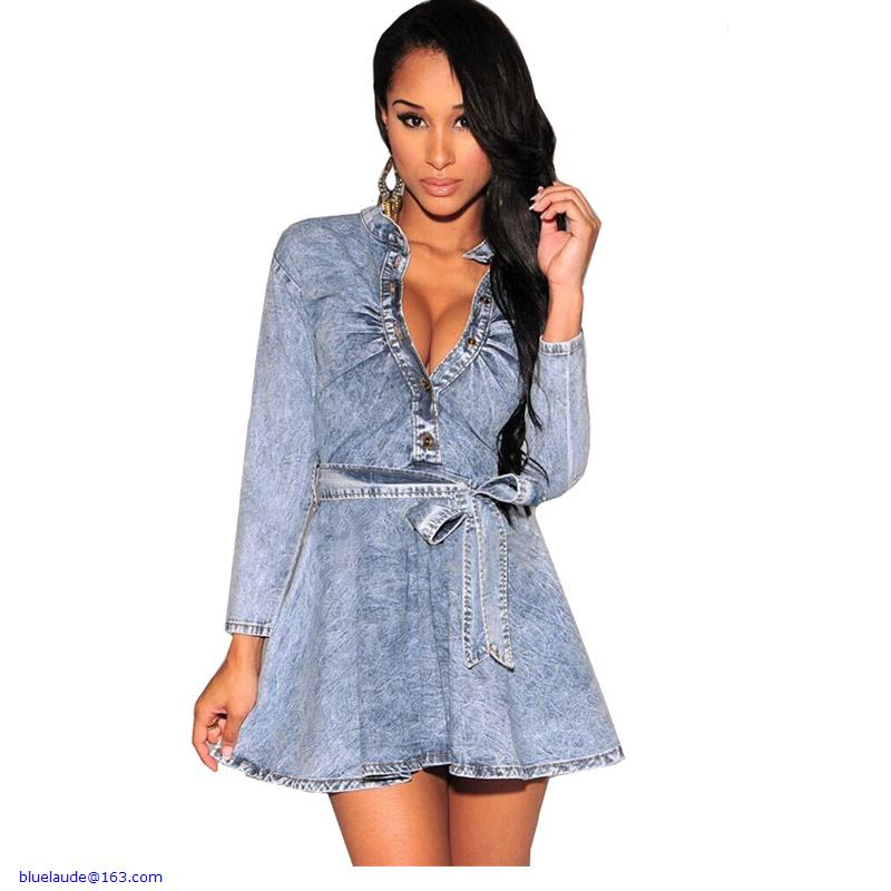 New Arrivals 2015 Women Dresses Fashion Style Light Denim V Neck Long Sleeves Belted Mini Dress