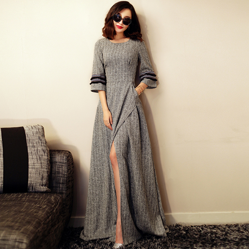 HIGH QUALITY New Fashion 2016 Designer Maxi Dress Womens 3/4 Sleeve Slit Vintage Casual Long Dress Size S-XXLОдежда и ак�е��уары<br><br><br>Aliexpress