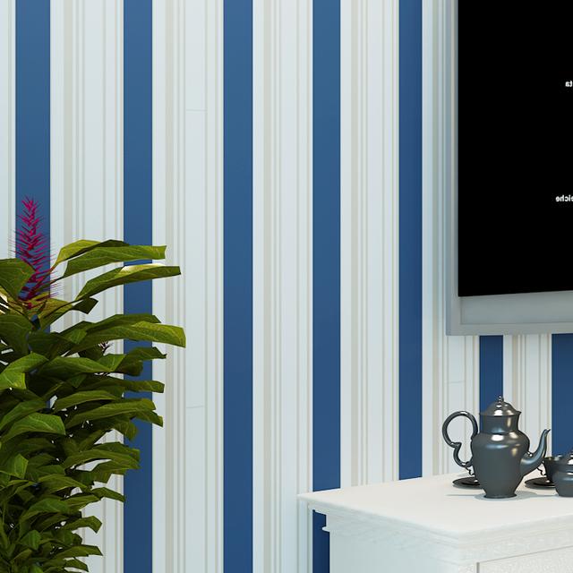 No tejido acuden estilo mediterr neo oriental azul y rayas - Papel pared rayas verticales ...