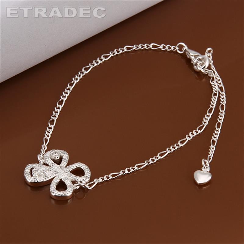Crystal clover ankle bracelet New Design Large Stock Delicate Handmade Cheap Silver Plated Anklet Bulk Sale(China (Mainland))