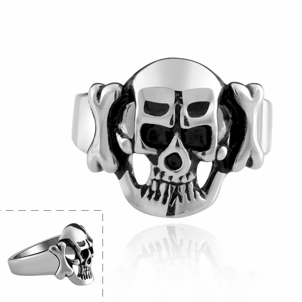 Free Shipping Best Gift stainless steel wedding rings skull head anel masculino wedding jewelry Holloween Accessories(China (Mainland))