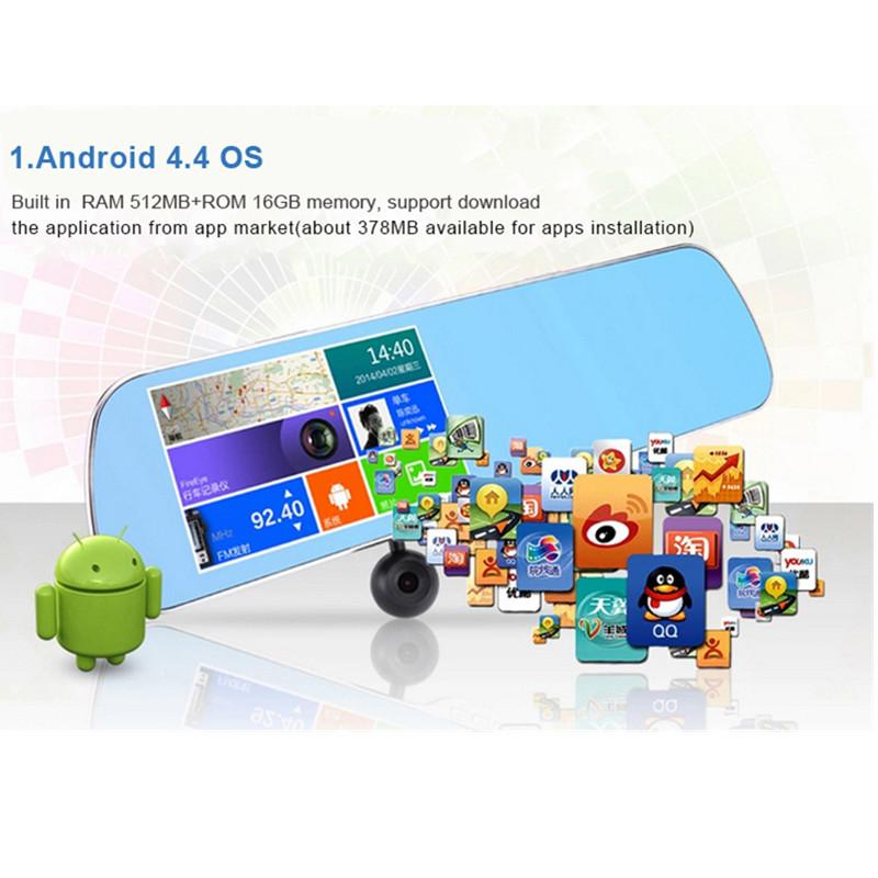 "5.0"" Android 16GB HD1080P Car Camera Parking car dvrs Rearview mirror video recorder Dual Camera Car DVR With GPS module GI2676(China (Mainland))"