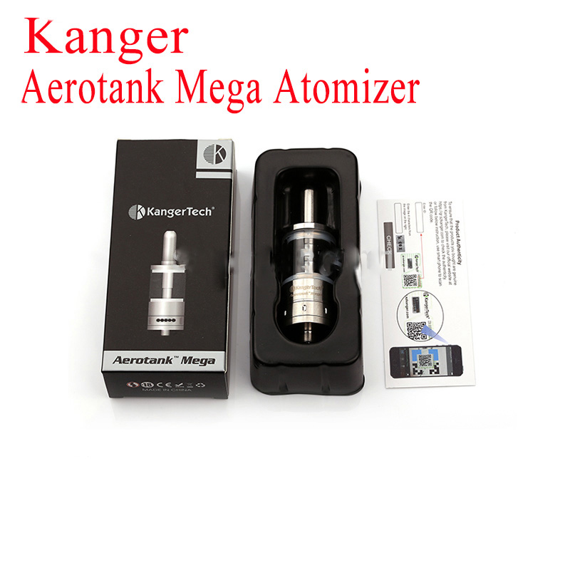 100% Authentic Kanger Aerotank Mega Atomizer 3.8ml Interchangeable Pyrex Glass  Kangertech Kanger Dual Coil E Cig Atomizer