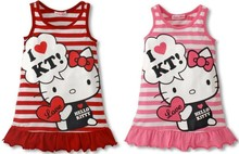 2014 Hot Selling Baby Girls Cute Hello Kitty Dress Red Pink Kt Clothes Girls' Clothing One-Piece Dress Free Shipping