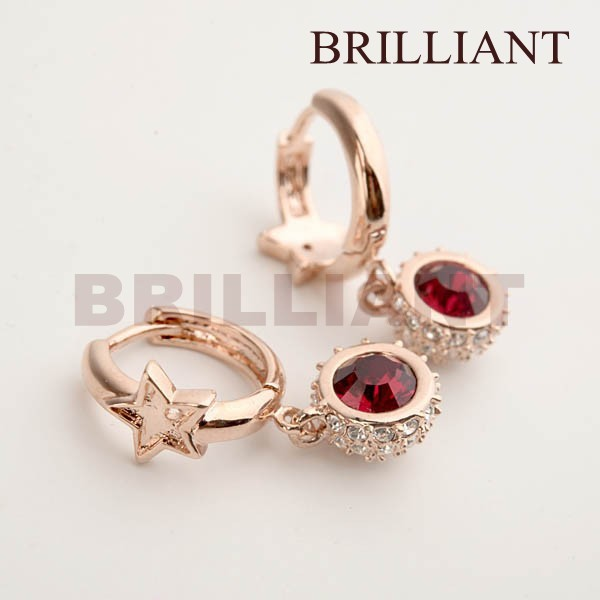BEH035 Elegant Ruby Red Austrian Rhinestone 18K Rose Gold Plated Drop Earrings Jewelry SWA Crystal elements - Brilliant store