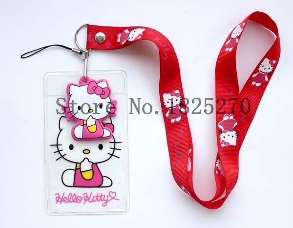 2015 new a lot of wholesale 10 pcs Hello Kitty Cartoon child elastic lanyard, badge bus card sets lanyards,(China (Mainland))