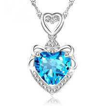 RUOYE New 2016 Vogue Luxurious Purple Blue Crystal Necklace Pendants Girls Love Coronary coronary heart Design Amethyst Girl Current Silver Jewelry