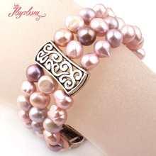 "6x8mm Irregular Natural Freshwater Pearl Beads Fashion Jewerly Bracelet Adjustbale Size 7.5"" For Women Chritmats New Year Gift(China)"
