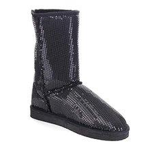 Mujeres de lentejuelas brillo superior invierno ronda dedo del pie caliente Pull en Slip on Flat Heel mitad de la pantorrilla invierno botas de nieve zapatos(China (Mainland))