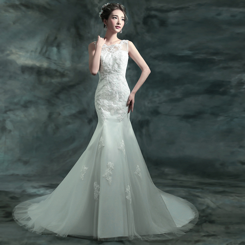 Buy fashionable white lace backless for Princess mermaid wedding dresses