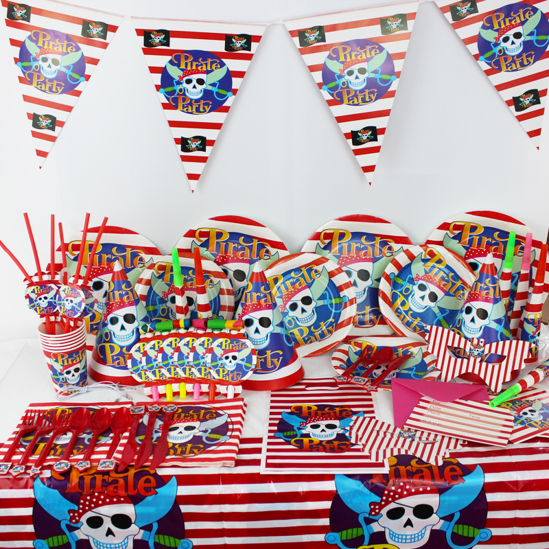 78pcs/2015 Luxury Kids Birthday Party Decoration Set Pirate Theme Party Supplies Baby Birthday Party Pack CK-021