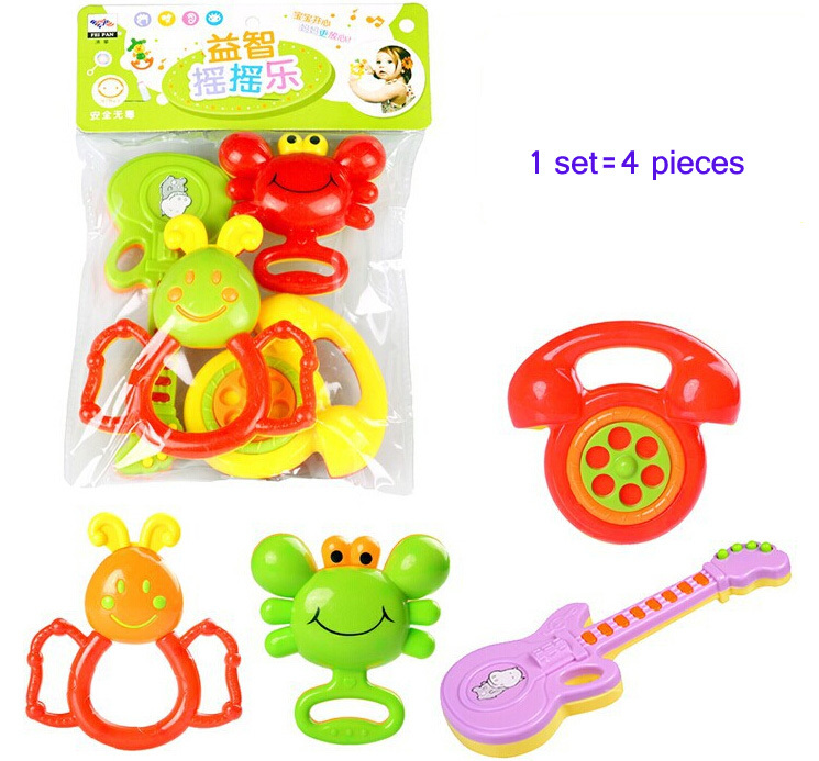 Colorful Plastic Children Baby Toys Hand Bell Ring Rattle Rattles Mobiles 4 pieces/set - YIWU Googol No. 2 Store store