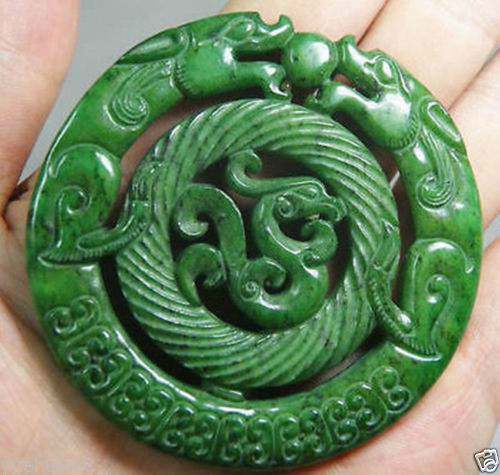 New- CHINESE OLD HANDWORK CARVE GREEN JADE DRAGON PENDANT - Jade jewelry store
