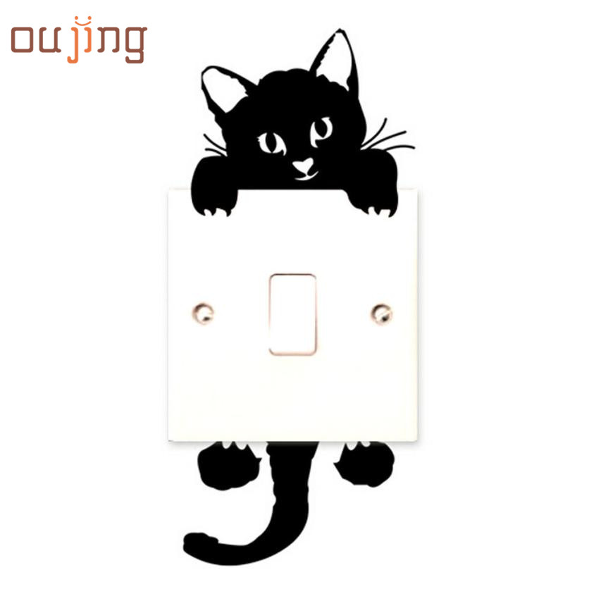 New Qualified 2017 New hot Viny Cat Wall Stickers Light Switch Art Baby Nursery bedroom Decor Levert Dropship dig6314(China (Mainland))