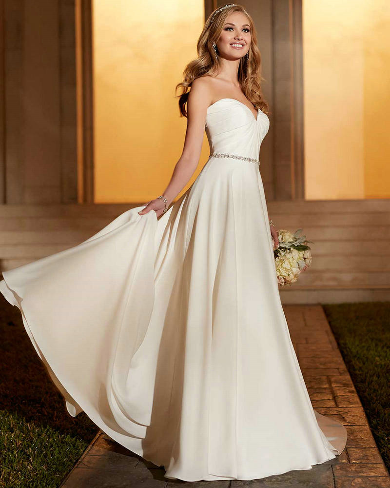 Casual wedding dress taffeta ivory empire bridal party for Wedding dresses boston cheap