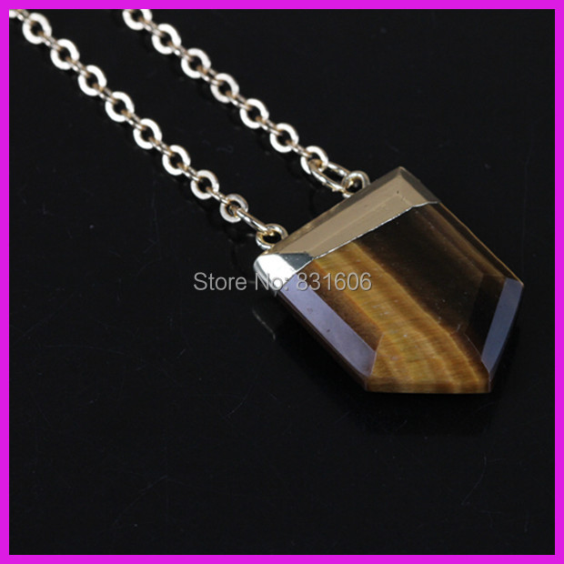 5PCS New Style Yellow Tiger Eye Crystal Gem Stone Pentagon Point Charm Pendant Connector Gold Chain Druzy Quartz Necklace Women(China (Mainland))