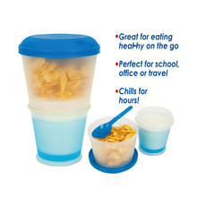 12oz Cereal On The Go Food Cup Water Bottle Folded Spoon&Freezer Gel Insulated Travel Food Storage Snack Container Keeper(China (Mainland))