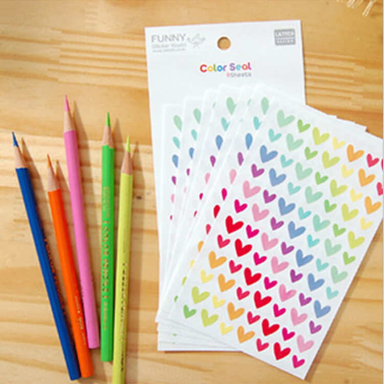 6 Sheets Colorful Rainbow Sticker Diary Planner Journal Scrapbook Albums Photo(China (Mainland))