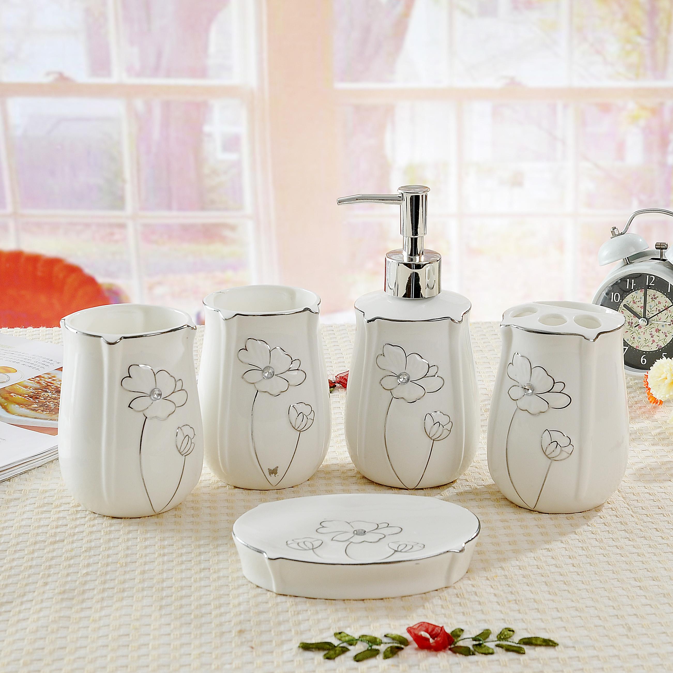 Five Pieces Ceramic Bathroom Set Shukoubei Bathroom Accessories Kit Inbathroom Accessories Sets