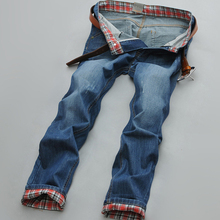 Men summer wear Jeans Causual Pants Pockets Mid-Waist Full length Brand Slim Type Straight Plaid Trousers Solid Popular Jeans