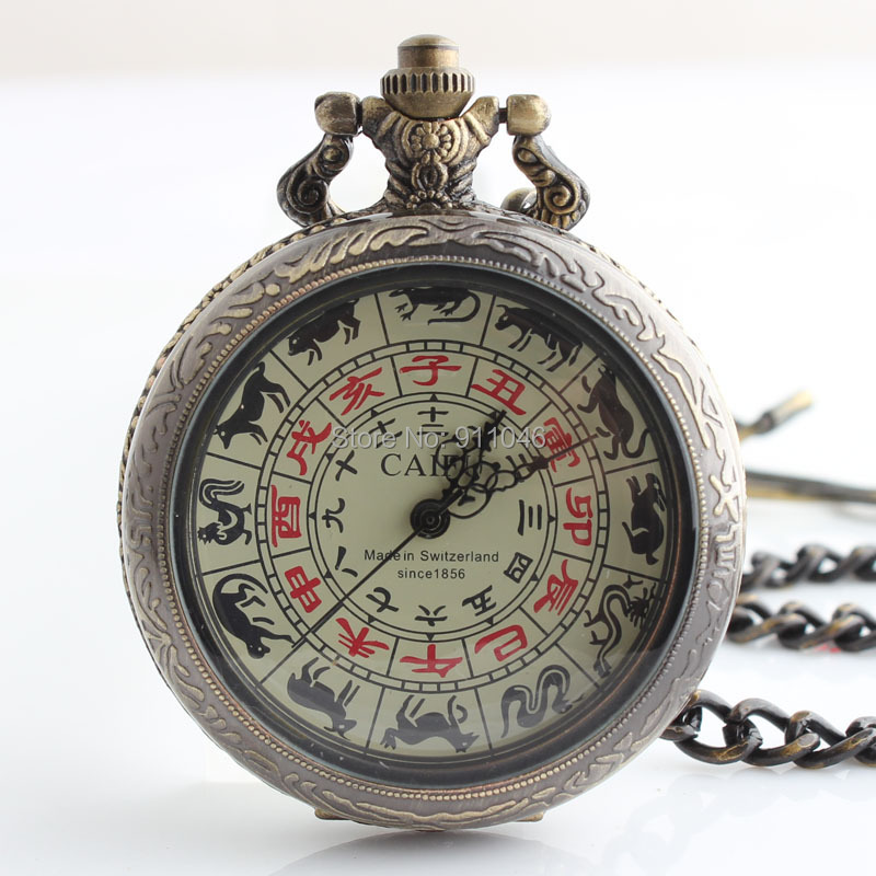 Free shipping Antique Bronze Mirror Skeleton Mechanical Pocket Watch Luxury Men's Pocket Watch With Chain Gift Watch Wholesale(China (Mainland))