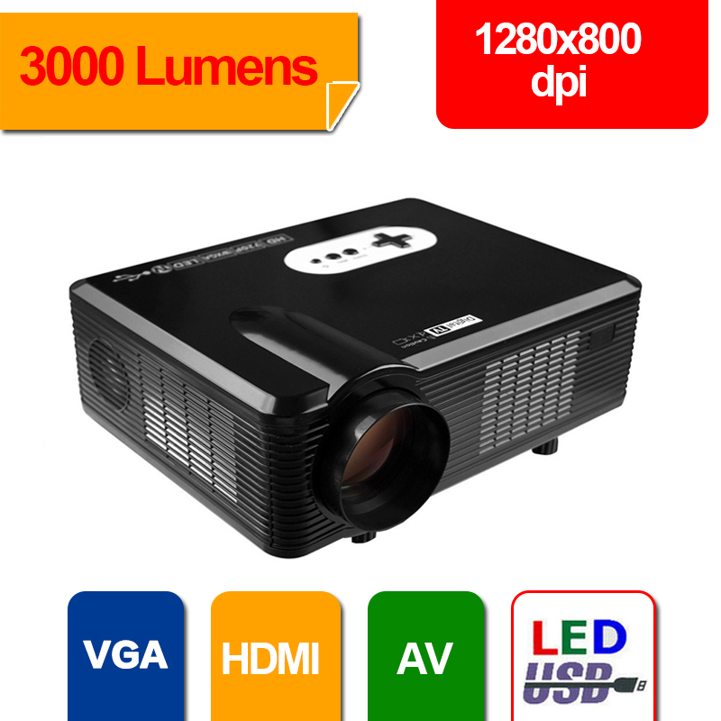 HD Projector Full Color 720P 3000 Lumens Digital TV Single LCD Panel LED Technology Multimedia Beamer Home Proyector for Movie(China (Mainland))