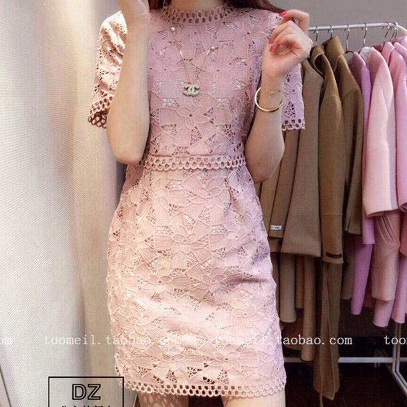 Vestidos 2016 Korea Style Ladies Spring Summer Dress Pink Crochet Floral Lace Dress Party Dress Plus Size Ladies Dress L674(China (Mainland))