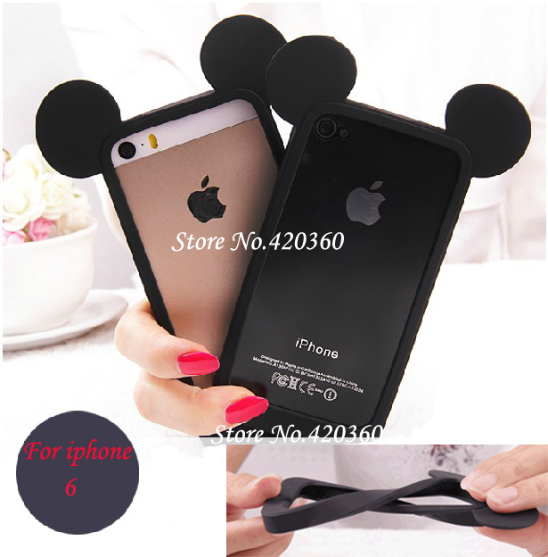 Hot Sale Toy Story Character Series Lovely Mickey Mouse Ears Silicone Soft Frame Bumper Case for iPhone 6 case 4.7 inch(China (Mainland))