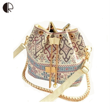DUSUN Promotion Hot Women Chains Fashion Bucket Bag Canvas Patchwork Houndstooth Brand Messenger Bag Bolsas BS391(China (Mainland))